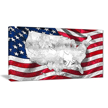 Designart Map and Flag of America Canvas Art Print, (PT2836-32-16)