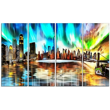 Designart Colourful New York Cityscape 4-Panel Canvas Art Print, (PT3307-271)