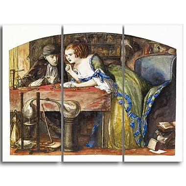 Designart Dante G. Rossetti, The Laboratory Canvas Art Print, (PT4277-3P)