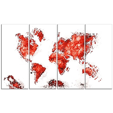 Designart Red Map Canvas Art Print, (PT2708-5-271)