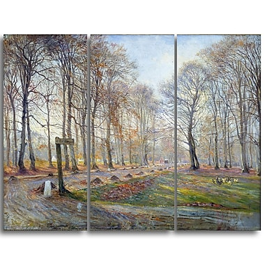 Designart Theodor Philipsen, Autumn in the Deer Park Canvas Art Print, (PT4933-3P)