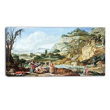 Designart Bartholomeus Breenbergh, The Finding of Moses Master Piece Landscape Artwork, (PT4169-32-16)