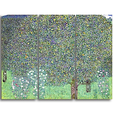 Designart Gustav Klimt, Rosebushes Under the Trees Canvas Art Print, (PT4457-3P)