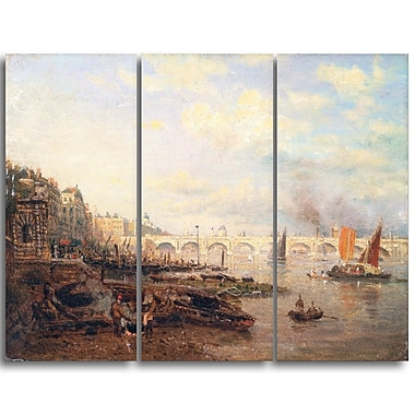 Designart Frederick Nash, The Thames and Waterloo Bridge Canvas Art Print, (PT4400-3P)