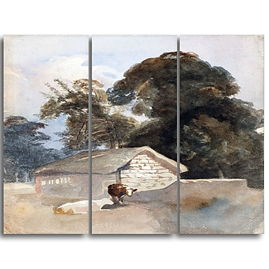 Designart Peter DeWint, Landscape with Cows and Barn Canvas Art Print, 3 Panels, (PT4834-3P)