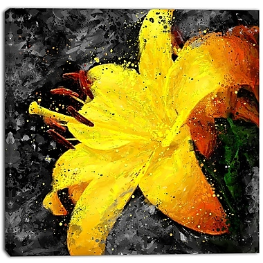 Designart Yellow Lily Floral Canvas Art Print, (PT3444-30-30)