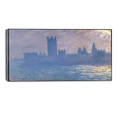 Designart Claude Monet, Houses of Parliament Landscape Canvas Arwork, (PT4267-40-20)