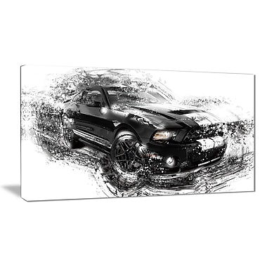 Designart Black and White Muscle Car Canvas Art Print, (PT2650-32-16)