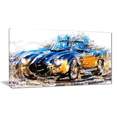 Designart – Petite toile abstraite étirée sur les bords, roadster bleu et orange (PT2603-32x16)