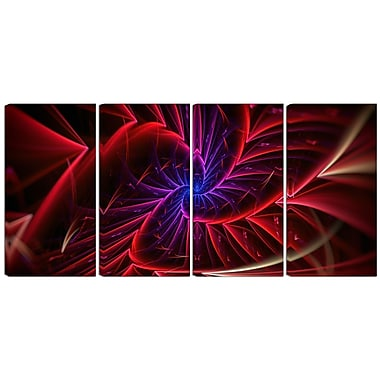 Designart Purple & Red Entanglement 4-Panel Abstract Canvas Art Print, (PT3027-271)