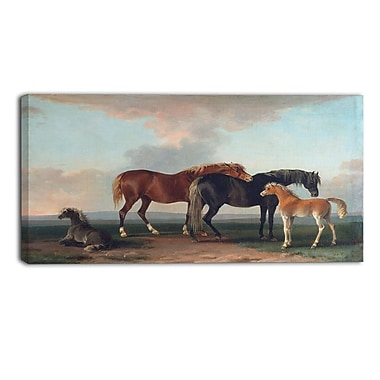 Designart Sawrey Gilpin, Mares and Foals Animal Canvas Art, (PT4922-32-16)