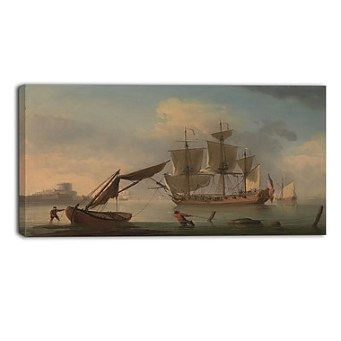 Designart Francis Swaine, An English Sloop Becalmed Canvas Art Print, (PT4388-40-20)