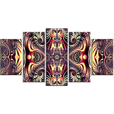 Designart Brassy Abstract Flow 5-Panel Canvas Art Print, (PT3086-373)