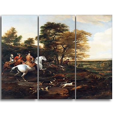 Designart Jan Wyck, Hare Hunting Canvas Art Print, 3 Panels, (PT4558-3P)
