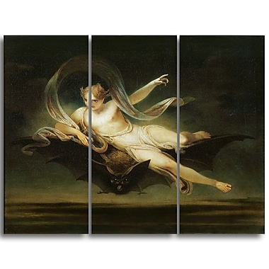 Designart Henry Singleton, Ariel on a Bats Back Religious Canvas Art Prints, (PT4498-3P)
