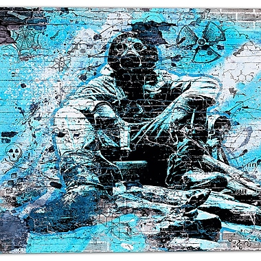 Designart Blue Hazardous Behavior Street Art Canvas Artwork, (PT3633-4-30-30)