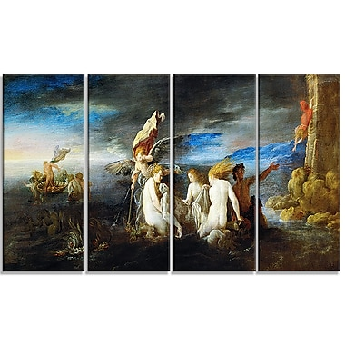 Designart Domenico Fetti, Hero Mourning the Dead Leander Canvas Art Print, (PT4301-271)