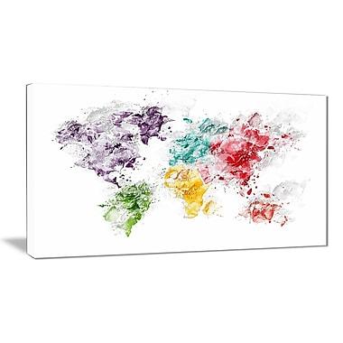 Designart Colour Splash World Map Canvas Art Print, (PT2739-32-16)