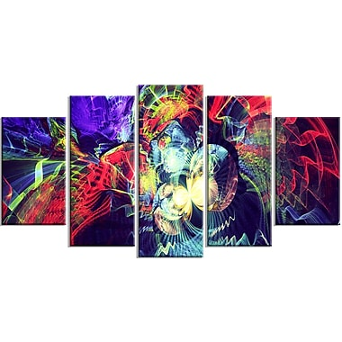 Designart Colour Collision 5-Panel Modern Canvas Art Print, (PT3078-373)