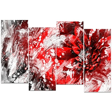 Designart Modern Red and White Floral Art Canvas Art Print, (PT3424-1-271)