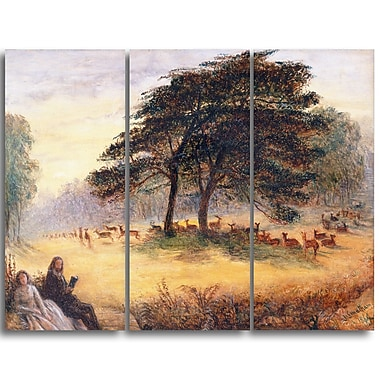 Designart James Smetham, Lovers in Richmond Park Canvas Art Print, (PT4543-3P)
