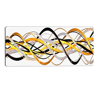 Designart Gold and Silver Helix Modern Canvas Art Print, (PT3043-32-16)