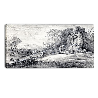 Designart Thomas Gainsborouh, Wooded Landscape with Peasant Canvas Art Print, (PT4955-40-20)