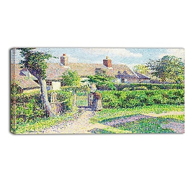 Designart Camille Pissarro, Peasants Houses Eragny Landscape Canvas Arwork, (PT4191-32-16)