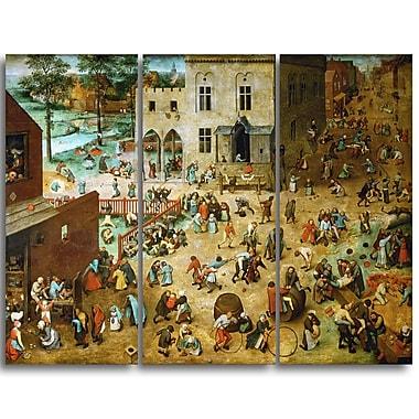 Designart – Toile imprimée de Pieter Bruegel « Les jeux d'enfants » (PT4863-3P)