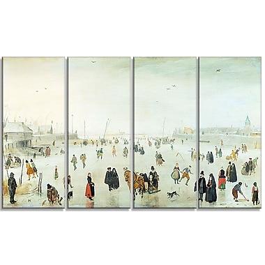 Designart – Hendrick Avercamp, scène sur la glace, toile d'illustration de paysage (PT4487-271)