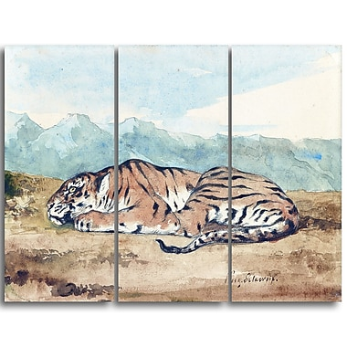 Designart Eugene Delacroix, Royal Tiger Landscape Canvas Art Print, (PT4364-3P)