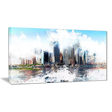 Designart Backside Cityscape Canvas Art Print, 4 Panels, (PT3314-32-16)