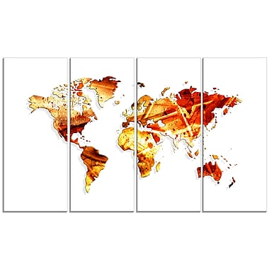 Designart Spring Colours 4-Panel Map Canvas Art Print, (PT2721-271)
