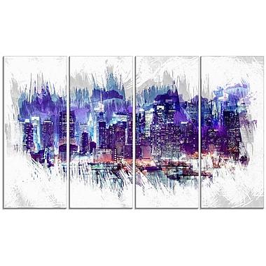 Designart – Impression sur toile, paysage urbain à minuit, 4 panneaux (PT3301-271)