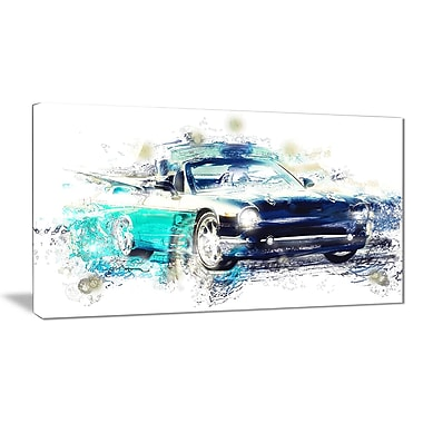 Designart – Imprimé sur toile, voiture en nuances de bleu, 32 x 16 (po)