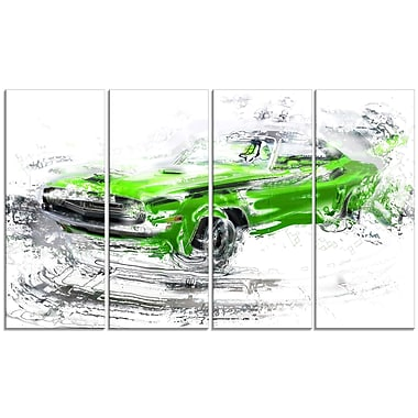 Designart Green American Classic Car Large Gallery Wrapped Canvas, (PT2612-271)