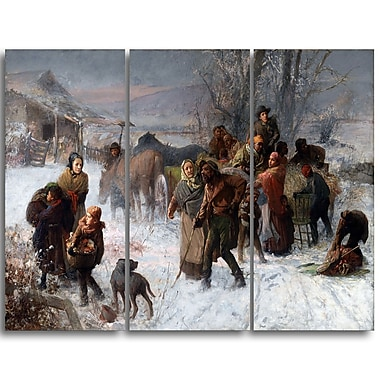 Designart Charles T. Webber, The Underground Railroad Canvas Art Print, (PT4222-3P)