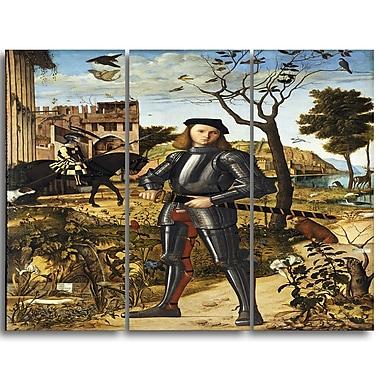 Designart – Toile imprimée de Vittore Carpaccio, jeune chevalier dans un paysage, 3 panneaux (PT4990-3P)