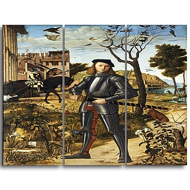 Designart Vittore Carpaccio, Young Knight in a Landscape Canvas Art Print, 3 Panels, (PT4990-3P)