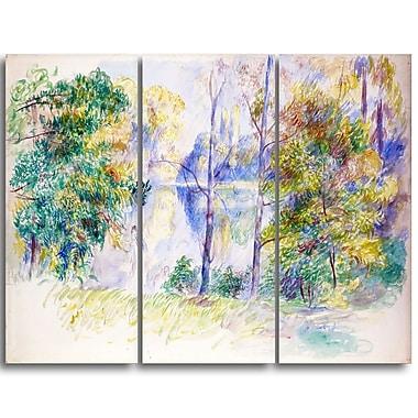 Designart Auguste Renoir, View of a Park Master Piece Landscape Artwork, (PT4164-3P)