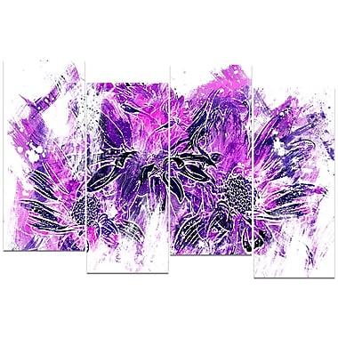 Designart – Art imprimé sur toile, fleurs violet électrique, 4 panneaux (PT3410-3-271)