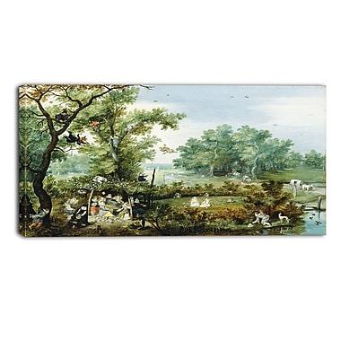 Designart Adriaen van de Venne, Merry Company in an Arbor Canvas Art Print, 4 Panels, (PT4106-32-16)