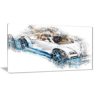 Designart White and Blue Convertible Canvas Art Print, (PT2641-32-16)