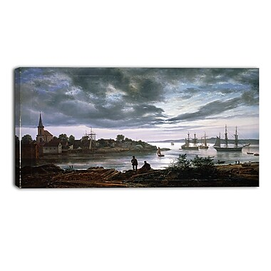 Designart JC Dahl, Larvik by Moonlight Canvas Art Print, (PT4570-32-16)