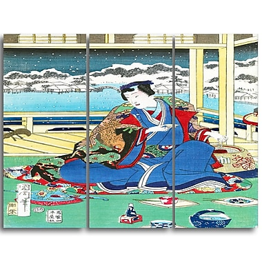 Designart Toyohara Kunichika, Genji Viewing Snow From a Balcony Large Asian Canvas Art, (PT4977-3P)