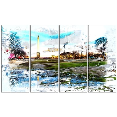 Designart Abstract Washington Monument Large Americana Canvas Art Print, (PT2803-271)