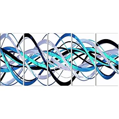 Designart – Imprimé moderne sur toile, spirale bleue et argentée, 5 panneaux (PT3046-401)
