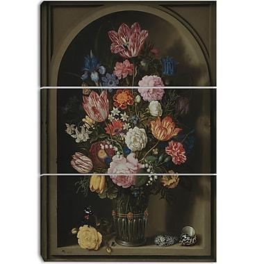 Designart Ambrosius Bosscha, Bouquet of Flowers Canvas Art Print, 3 Panels, (PT4134-3P)