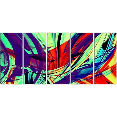 Designart Vinatge Lime Green Abstract Art 5-Panel Modern Canvas Art Print, (PT3074-401)