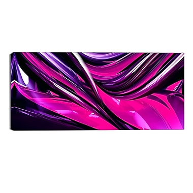 Designart Pink & Purple Ribbons Modern Canvas Art Print, (PT3040-32-16)